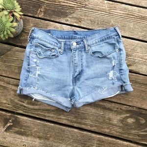 Levi's Distressed high rise jean shorts size 10